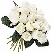 18 Pcs Artificial White Rose, Silk Flowers
