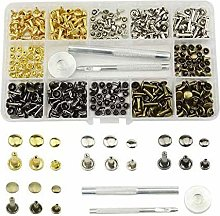 180 Set Leather Rivets Double Cap Rivet Tubular