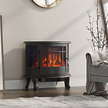 1800W Metal Electric Fireplace Heater Fire Flame