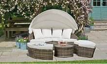 180cm Rattan-Effect Daybed Set with Table: with