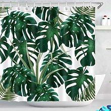 180x200cm Shower Curtain Dark Green Monstera
