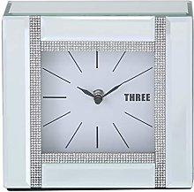 18cm Cube Design Mirror & Glitz Diamante Silver