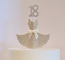 18th Birthday Cake Decoration. Gold Dress with