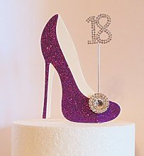 18th Birthday Cake Decoration Purple Shoe with