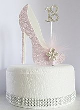 18th Pink and White Birthday Cake Decoration Shoe