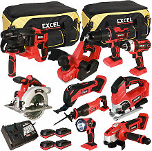 18V Cordless 10 Piece Tool Kit with 4 x 2.0Ah