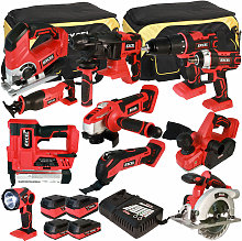 18V Cordless 11 Piece Tool Kit with 4 Batteries &