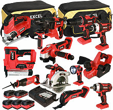 18V Cordless 12 Piece Tool Kit with 5 Batteries &