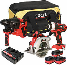 18V Cordless 3 Piece Tool Kit with 3 Batteries &