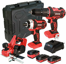 18V Cordless 3 Piece Tool Kit with 3 x Batteries &