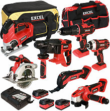 18V Cordless 7 Piece Tool Kit with 3 Batteries &
