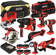 18V Cordless 8 Piece Tool Kit with 4 x 5.0Ah