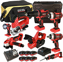 18V Cordless 8 Piece Tool Kit with 6 x 2.0Ah