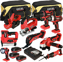 18V Cordless 9 Piece Tool Kit with 3 x 2.0Ah
