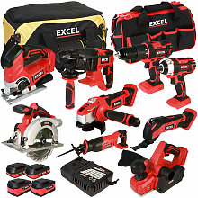 18V Cordless 9 Piece Tool Kit with 4 Batteries &