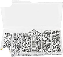 190PCS Flat Head Rivet Nut Zinc Plated Aluminum