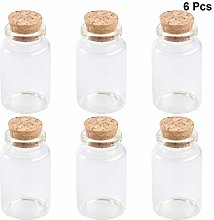 1LED Pack of 6 120 ml Spice Jars with Cork Lid