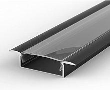 1m recessed LED Aluminium Profile, Painted Black,