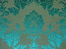1m Teal Madagascar Designer Curtain Brocade Damask