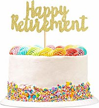 1Pack Gold Glitter Happy Retirement Cake Topper