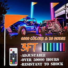 1pc 3ft 96led IP67 Car LED Whip Light 6000-Color