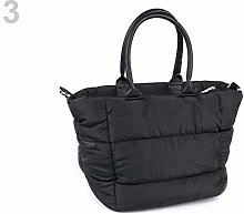 1pc Black Quilted Handbag 25x38cm, Textile Bags