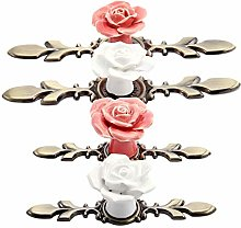 1pc Door Handle Pink/White Rose Vintage Ceramic