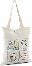 1pc Ecru Light Canvas Tote Bag 34x39cm Sea,