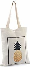 1pc Ecru Light Pineapple Canvas Tote Bag 34x39cm