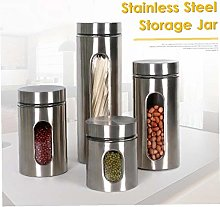 1pc Food Container Stainless Steel Storage Box Jar