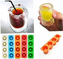 1pc Ice Shot Glass Mould Silicone Tray 4 Ice Cubes