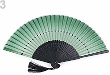 1pc Lig.Pastel Green Textile Hand Fan, Carnival