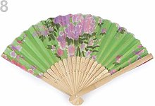 1pc Light Green Textile Hand Fan with Flowers,