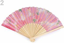 1pc Light Pink Textile Hand Fan with Flowers,