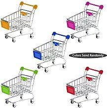 1pc Mini Shopping Cart Pen Cup Holder Desk
