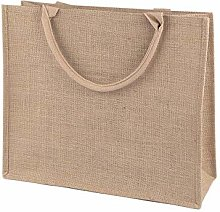 1pc Natural Burlap Jute Shopping Tote with Pocket
