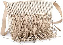 1pc Natural Macrame Handbag with Fringes, Textile