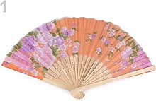 1pc Orange Textile Hand Fan with Flowers, Carnival