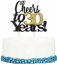 1Pc Paper Cheers to 30 Years Happy Birthday Cake