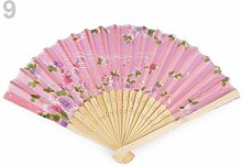 1pc Pink Middle Textile Hand Fan with Flowers,