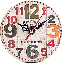 1PC Vintage Wooden Wall Clock Large Shabby Chic