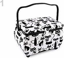 1pc White-Black Upholstery Sewing Basket Cat,