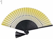 1pc White Yellow Textile Hand Fan, Carnival