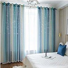 1pcs-Double Layer Star Window Curtain,Super Soft
