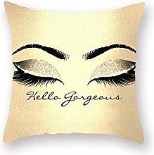1Pcs Eyelash Out Decorative Throw Pillow Golden