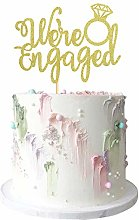 1Pcs Gold Glitter We're Engaged Cake Topper