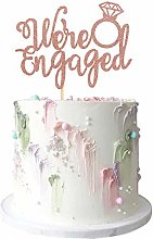 1Pcs Rose Gold Glitter Engagement Cake Topper We