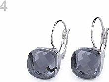 1pr Black Diamond Stainless Steel Leverback