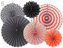 1set Red Coral Black Decorative Paper Rosette -