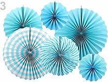 1set Turquoise Decorative Paper Rosette - Set of